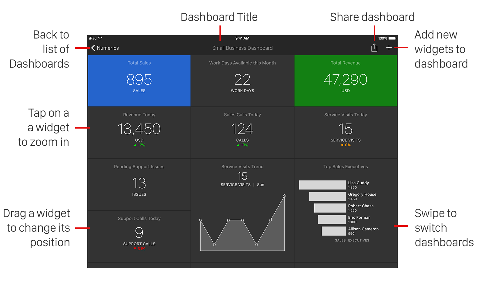 Anatomy of Numerics Business Dashboards
