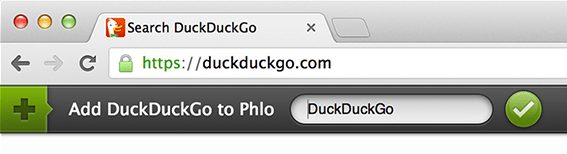 Phlo Assistant Add OpenSearch DuckDuckGo