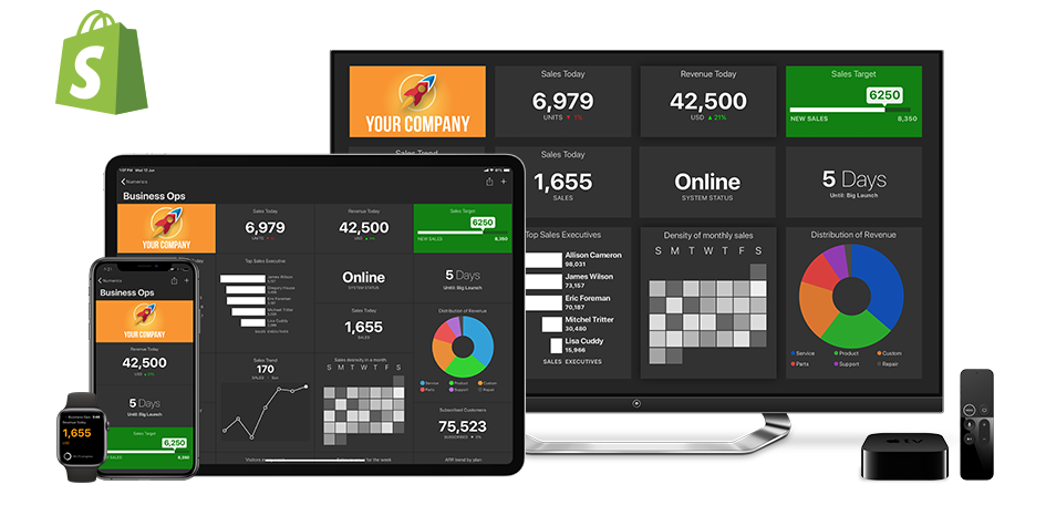 Shopify Dashboards on iPhone, iPad, Apple TV and Apple Watch