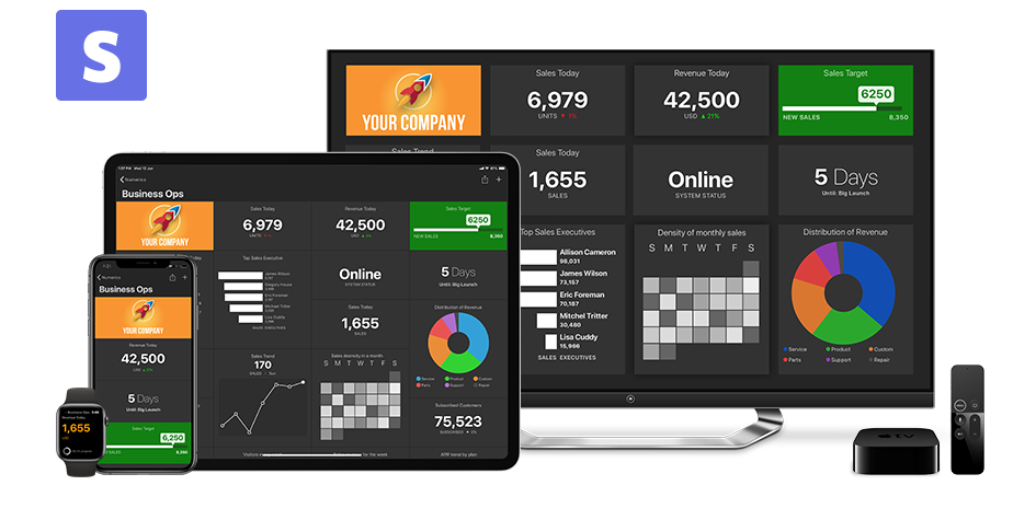 Stripe Dashboards on iPhone, iPad, Apple TV and Apple Watch