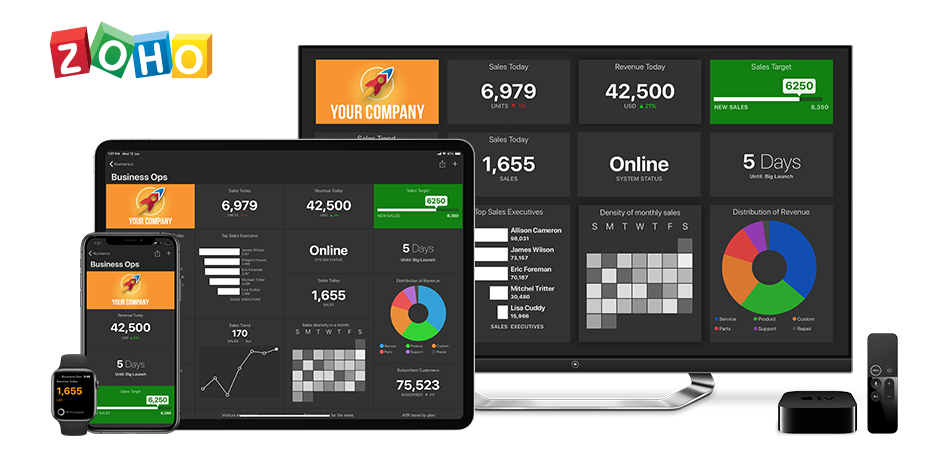 Zoho Analytics Dashboards on iPhone, iPad, Apple TV and Apple Watch